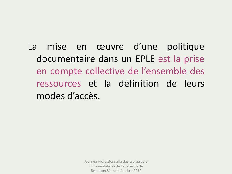 La mise en œuvre dune politique documentaire dans un EPLE est la prise en compte collective de lensemble des ressources et la définition de leurs mode