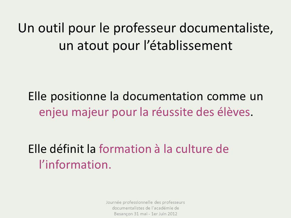 Un outil pour le professeur documentaliste, un atout pour létablissement Elle positionne la documentation comme un enjeu majeur pour la réussite des é