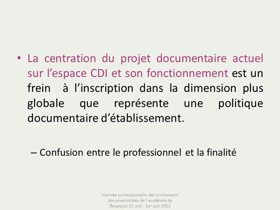La centration du projet documentaire actuel sur lespace CDI et son fonctionnement est un frein à linscription dans la dimension plus globale que repré