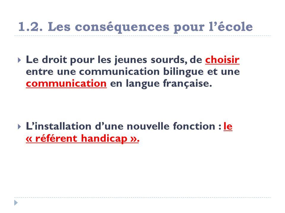 1.2. Les conséquences pour lécole Le droit pour les jeunes sourds, de choisir entre une communication bilingue et une communication en langue français
