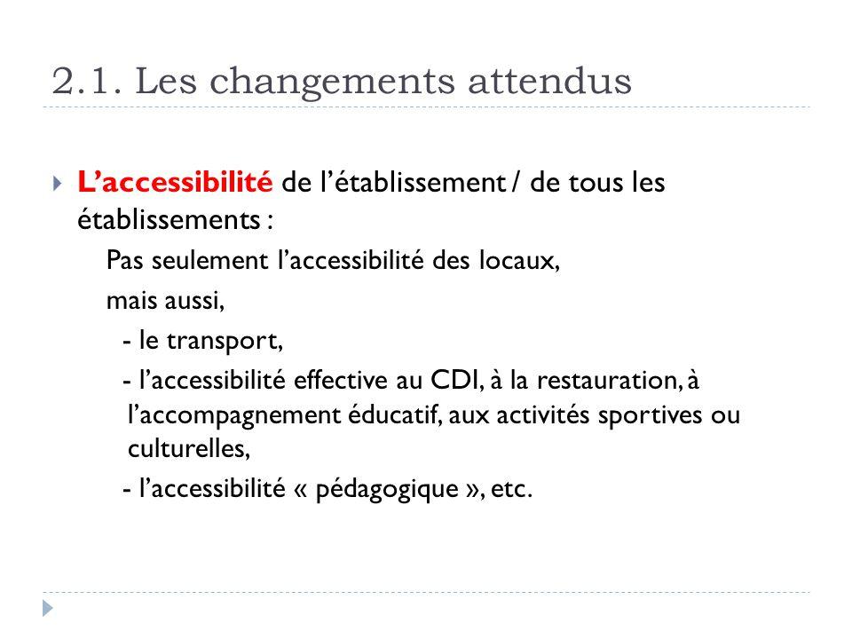 2.1. Les changements attendus Laccessibilité de létablissement / de tous les établissements : Pas seulement laccessibilité des locaux, mais aussi, - l