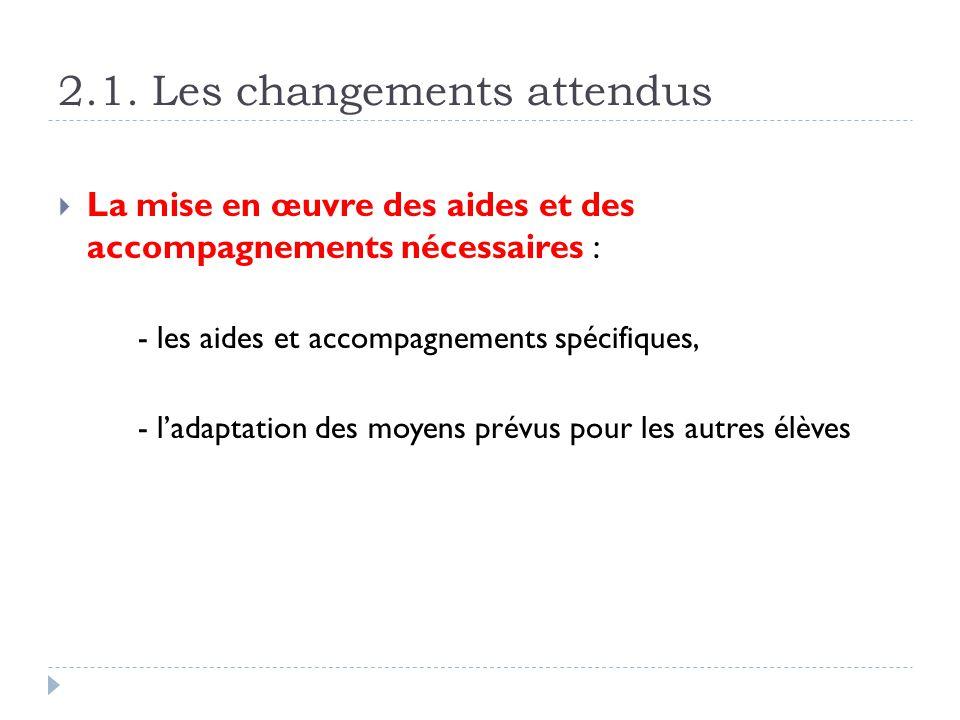2.1. Les changements attendus La mise en œuvre des aides et des accompagnements nécessaires : - les aides et accompagnements spécifiques, - ladaptatio