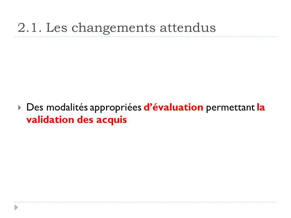 2.1. Les changements attendus Des modalités appropriées dévaluation permettant la validation des acquis