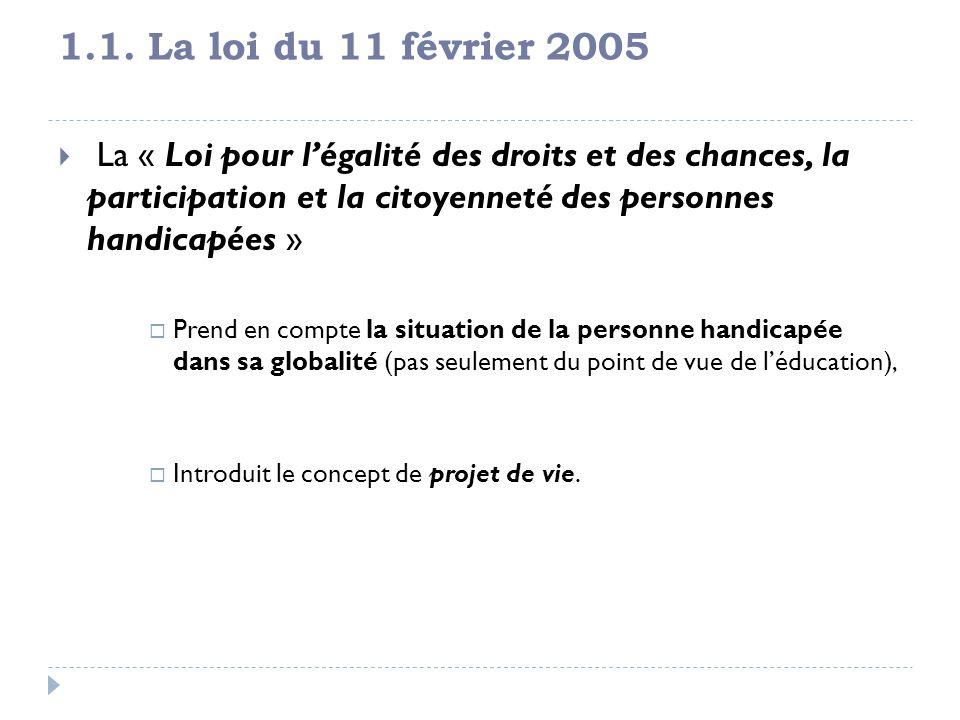 1.1. La loi du 11 février 2005 La « Loi pour légalité des droits et des chances, la participation et la citoyenneté des personnes handicapées » Prend