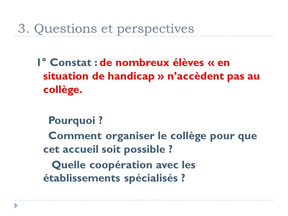 3. Questions et perspectives 1° Constat : de nombreux élèves « en situation de handicap » naccèdent pas au collège. Pourquoi ? Comment organiser le co