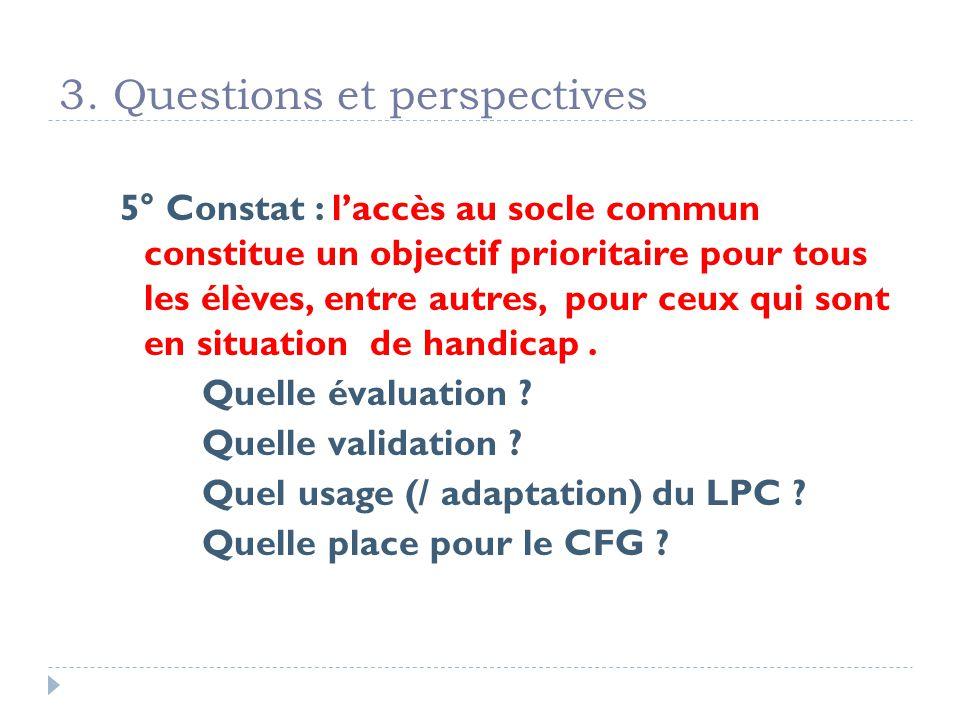 3. Questions et perspectives 5° Constat : laccès au socle commun constitue un objectif prioritaire pour tous les élèves, entre autres, pour ceux qui s