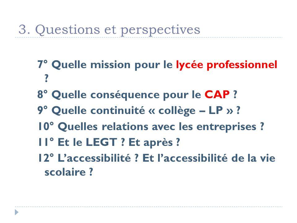 3. Questions et perspectives 7° Quelle mission pour le lycée professionnel .
