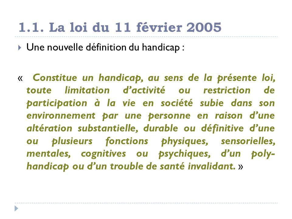 1.1. La loi du 11 février 2005 Une nouvelle définition du handicap : « Constitue un handicap, au sens de la présente loi, toute limitation dactivité o