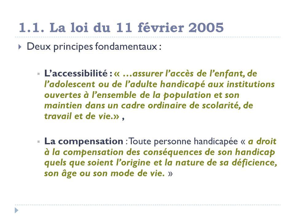 1.1. La loi du 11 février 2005 Deux principes fondamentaux : Laccessibilité : « …assurer laccès de lenfant, de ladolescent ou de ladulte handicapé aux