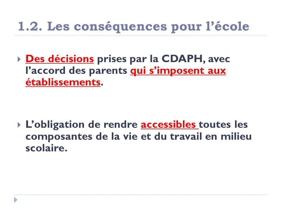 1.2. Les conséquences pour lécole Des décisions prises par la CDAPH, avec laccord des parents qui simposent aux établissements. Lobligation de rendre