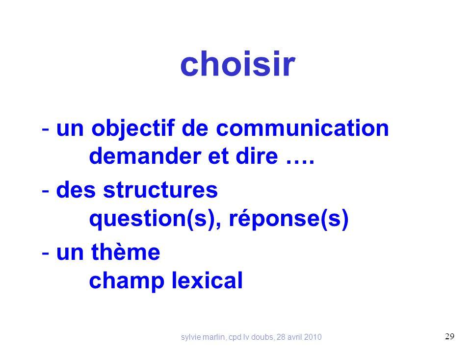 choisir - un objectif de communication demander et dire ….