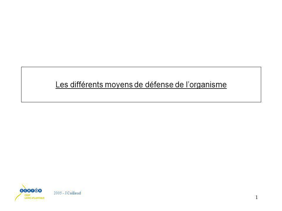 1 Les différents moyens de défense de lorganisme 2005 - J.Caillaud