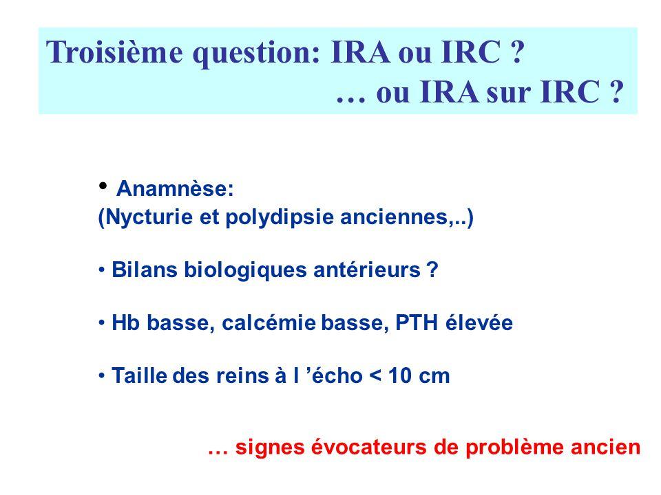 Troisième question: IRA ou IRC ? … ou IRA sur IRC ? Anamnèse: (Nycturie et polydipsie anciennes,..) Bilans biologiques antérieurs ? Hb basse, calcémie