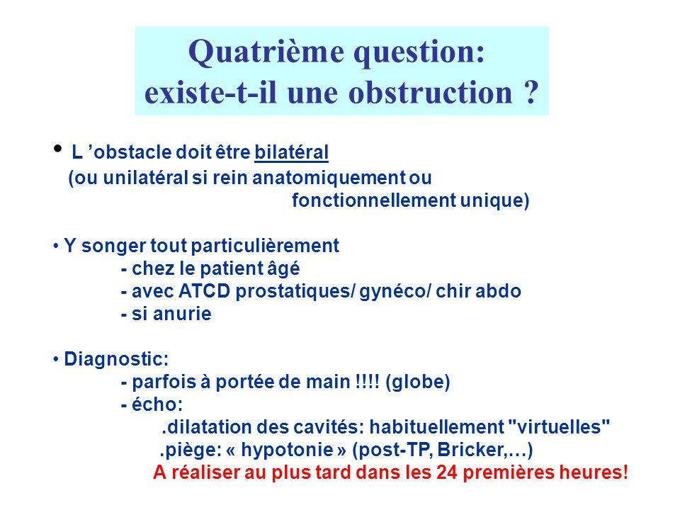 Quatrième question: existe-t-il une obstruction ? L obstacle doit être bilatéral (ou unilatéral si rein anatomiquement ou fonctionnellement unique) Y