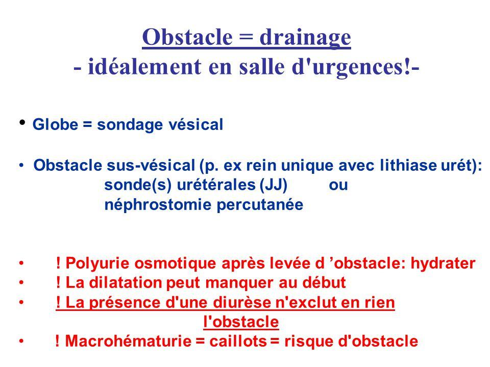 Obstacle = drainage - idéalement en salle d'urgences!- Globe = sondage vésical Obstacle sus-vésical (p. ex rein unique avec lithiase urét): sonde(s) u