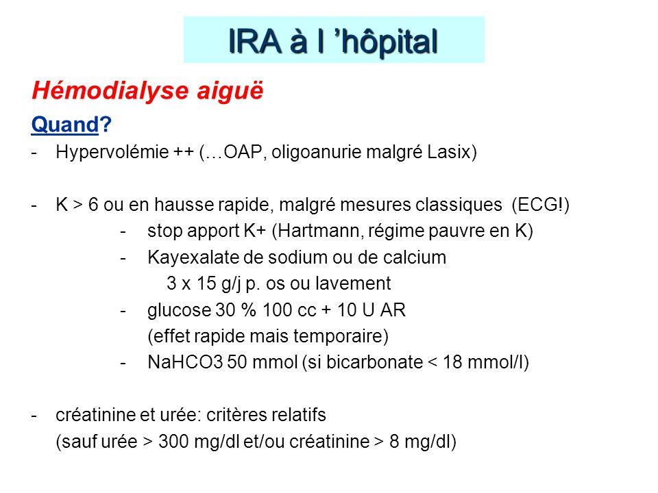 Hémodialyse aiguë Quand? -Hypervolémie ++ (…OAP, oligoanurie malgré Lasix) -K > 6 ou en hausse rapide, malgré mesures classiques (ECG!) -stop apport K