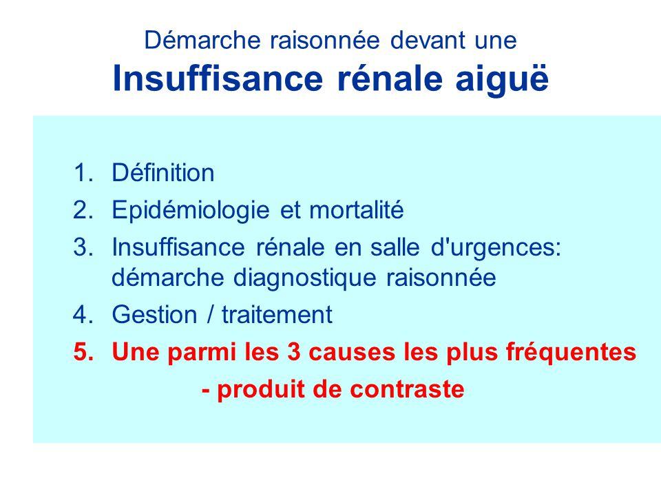 Démarche raisonnée devant une Insuffisance rénale aiguë 1.Définition 2.Epidémiologie et mortalité 3.Insuffisance rénale en salle d'urgences: démarche