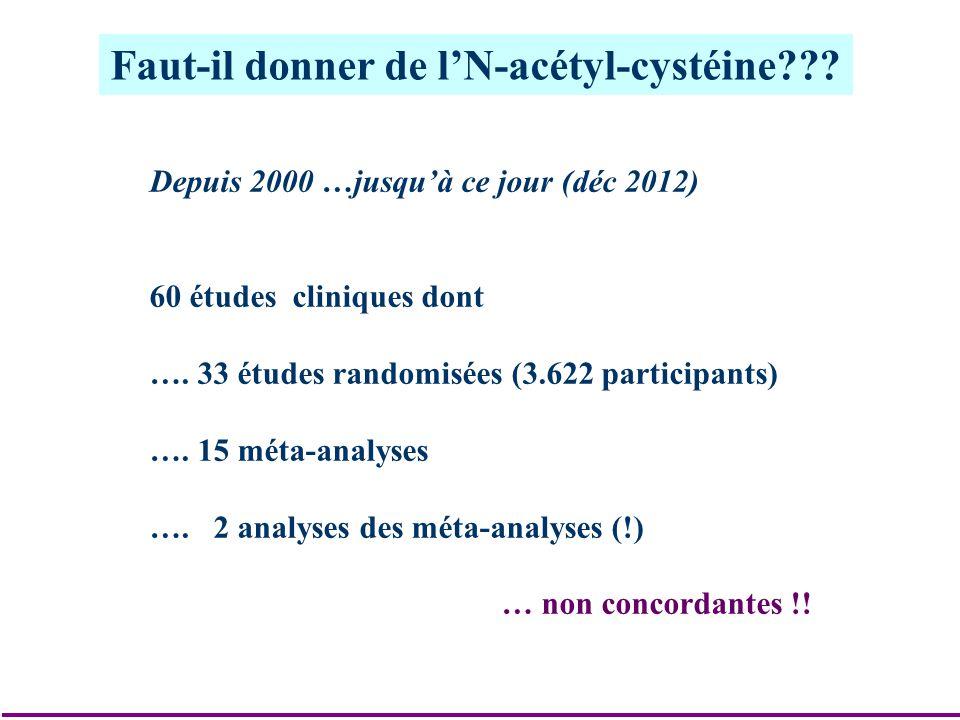 Faut-il donner de lN-acétyl-cystéine??? Depuis 2000 …jusquà ce jour (déc 2012) 60 études cliniques dont …. 33 études randomisées (3.622 participants)