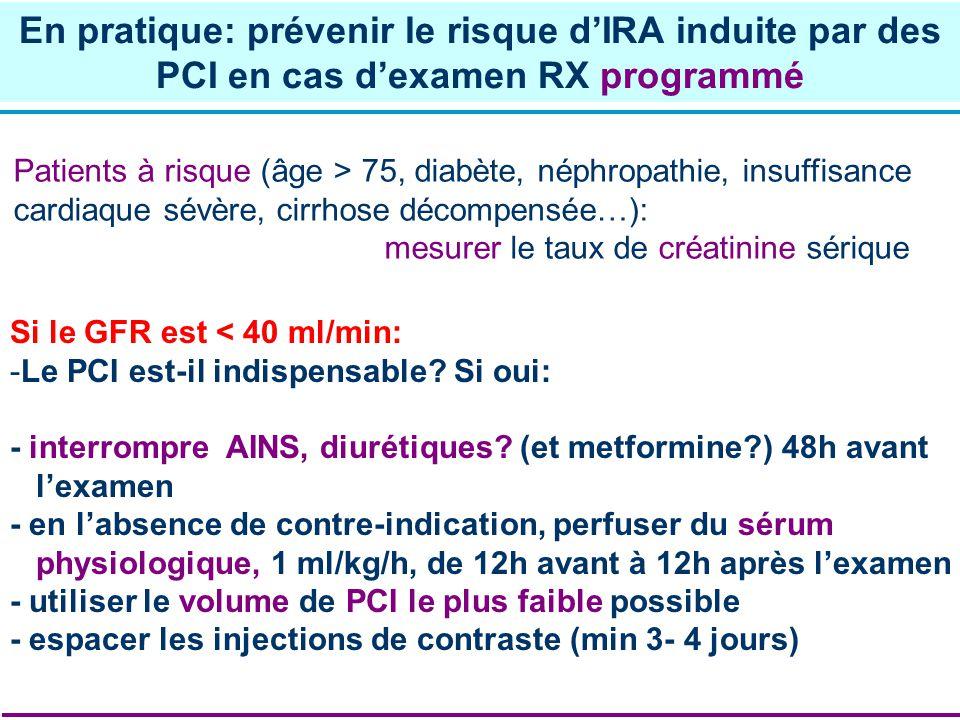 Patients à risque (âge > 75, diabète, néphropathie, insuffisance cardiaque sévère, cirrhose décompensée…): mesurer le taux de créatinine sérique Si le