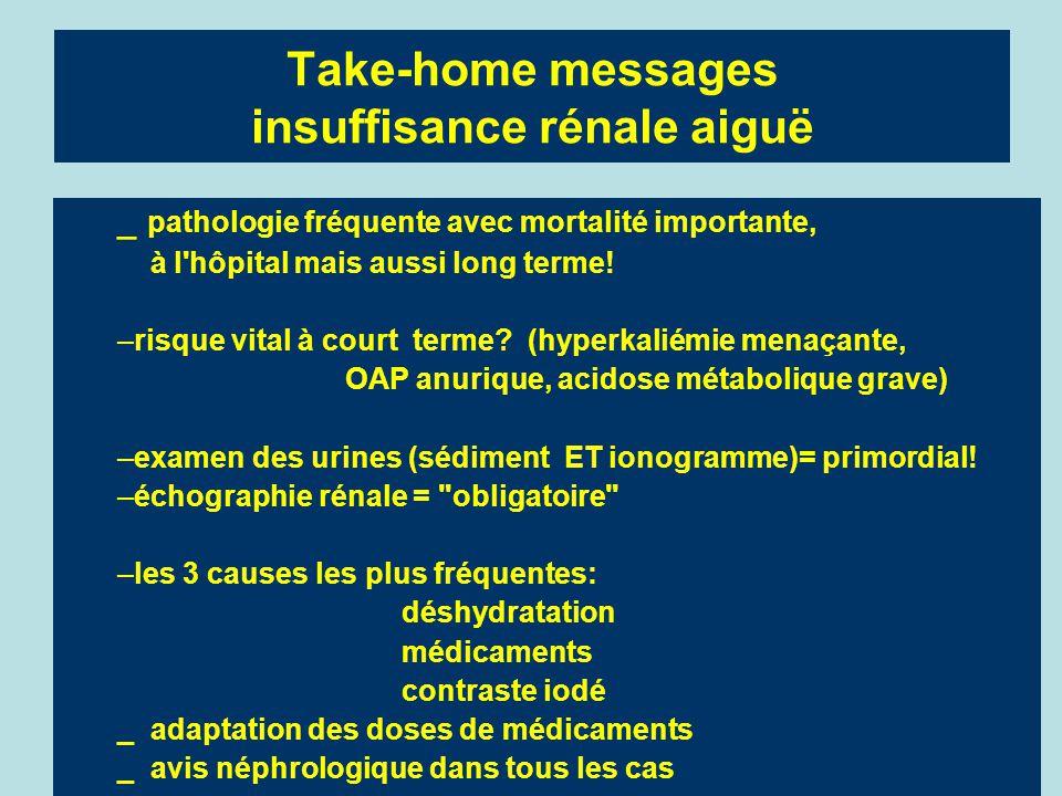 Take-home messages insuffisance rénale aiguë _ pathologie fréquente avec mortalité importante, à l'hôpital mais aussi long terme! –risque vital à cour