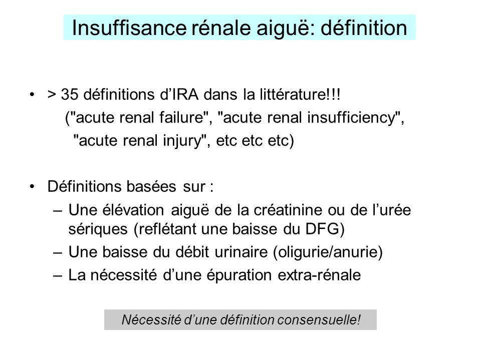 Insuffisance rénale aiguë: définition > 35 définitions dIRA dans la littérature!!! (