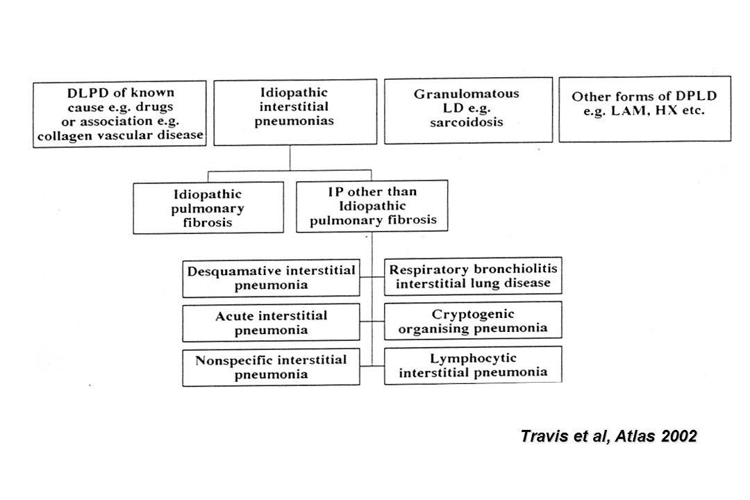 PID : nombre de réactions limitées du poumon Environ 200 étiologies Clinique et EFR non spécifiques Moins de 10 « patterns » radiologiques (TDM) : rayon de miel, verre dépoli, lignes septales et non septales, micronodules, condensations, associations Moins de 10 « patterns » anatomo-pathologiques : UIP, NSIP, DIP, DAD, LIP, COP (BOOP), granulomes Quelques diagnostics spécifiques : histiocytose X, Lymphangite C, vascularites, p.