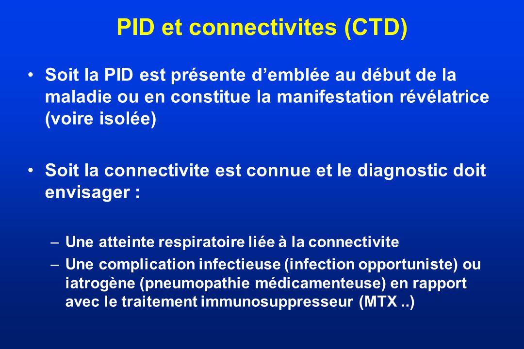 PID et connectivites (CTD) Soit la PID est présente demblée au début de la maladie ou en constitue la manifestation révélatrice (voire isolée) Soit la