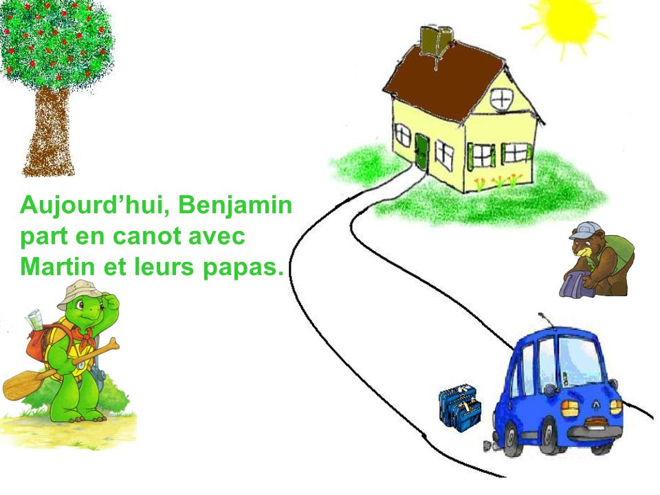 Aujourdhui, Benjamin part en canot avec Martin et leurs papas.