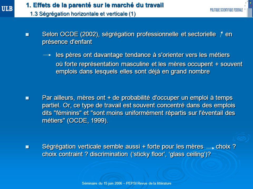 1. Effets de la parenté sur le marché du travail 1.3 Ségrégation horizontale et verticale (1) Selon OCDE (2002), ségrégation professionnelle et sector
