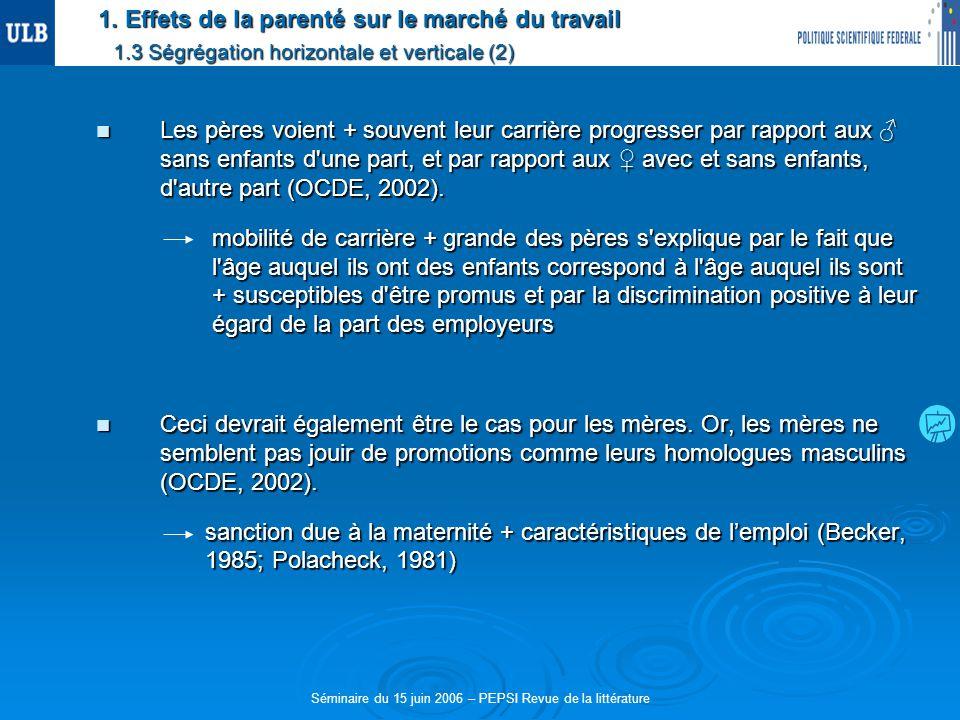 Séminaire du 15 juin 2006 – PEPSI Revue de la littérature 1. Effets de la parenté sur le marché du travail 1.3 Ségrégation horizontale et verticale (2
