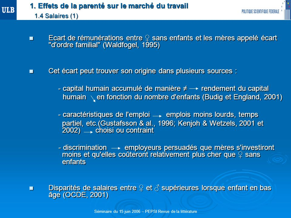 1. Effets de la parenté sur le marché du travail 1.4 Salaires (1) Ecart de rémunérations entre sans enfants et les mères appelé écart