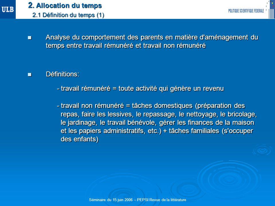 2. Allocation du temps 2.1 Définition du temps (1) Analyse du comportement des parents en matière d'aménagement du temps entre travail rémunéré et tra