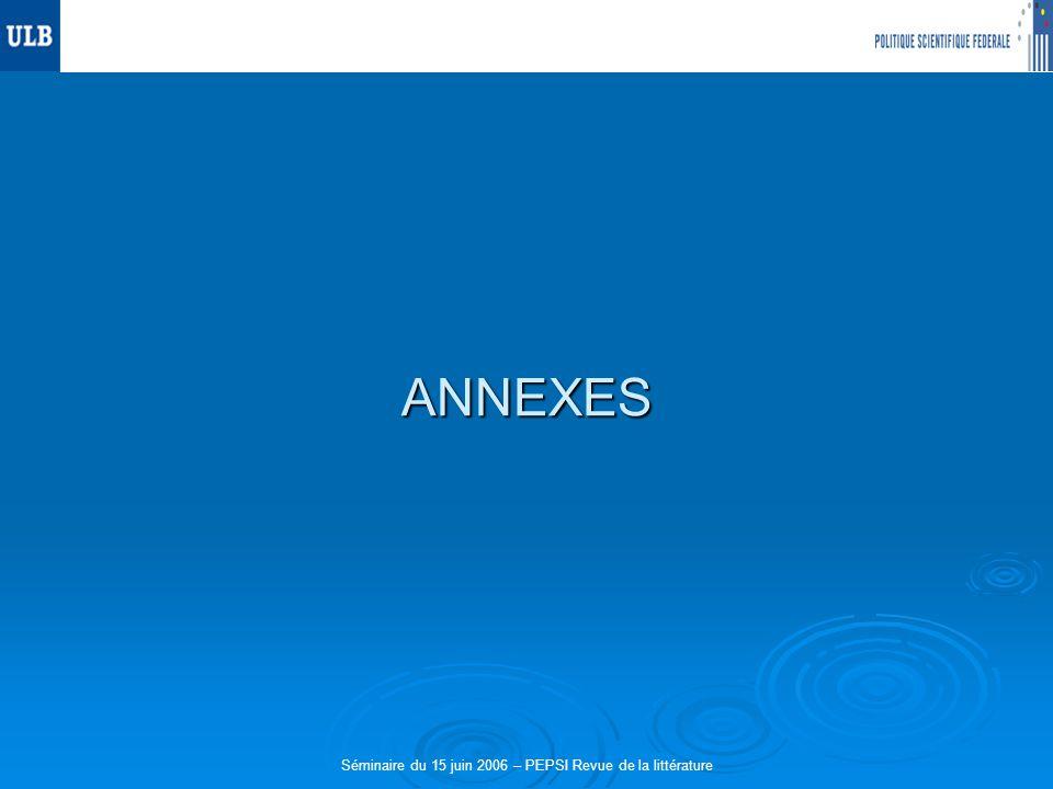 Séminaire du 15 juin 2006 – PEPSI Revue de la littérature ANNEXES