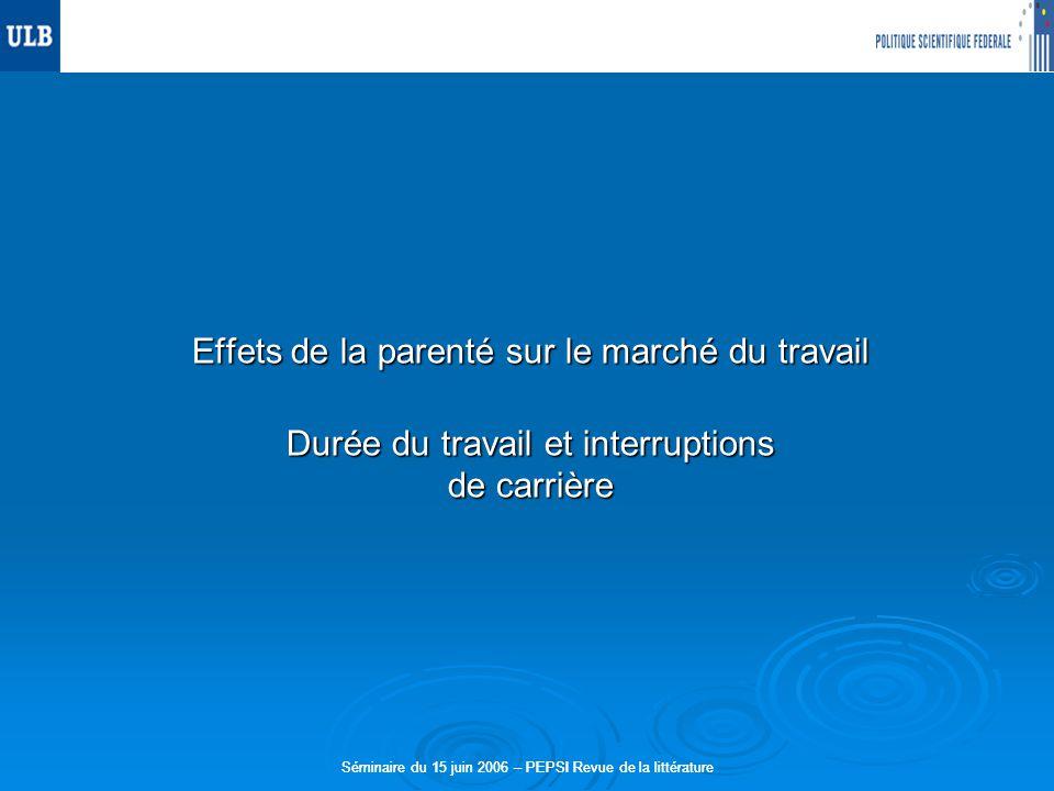 Séminaire du 15 juin 2006 – PEPSI Revue de la littérature Effets de la parenté sur le marché du travail Durée du travail et interruptions de carrière