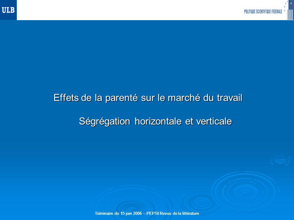 Séminaire du 15 juin 2006 – PEPSI Revue de la littérature Effets de la parenté sur le marché du travail Ségrégation horizontale et verticale Séminaire