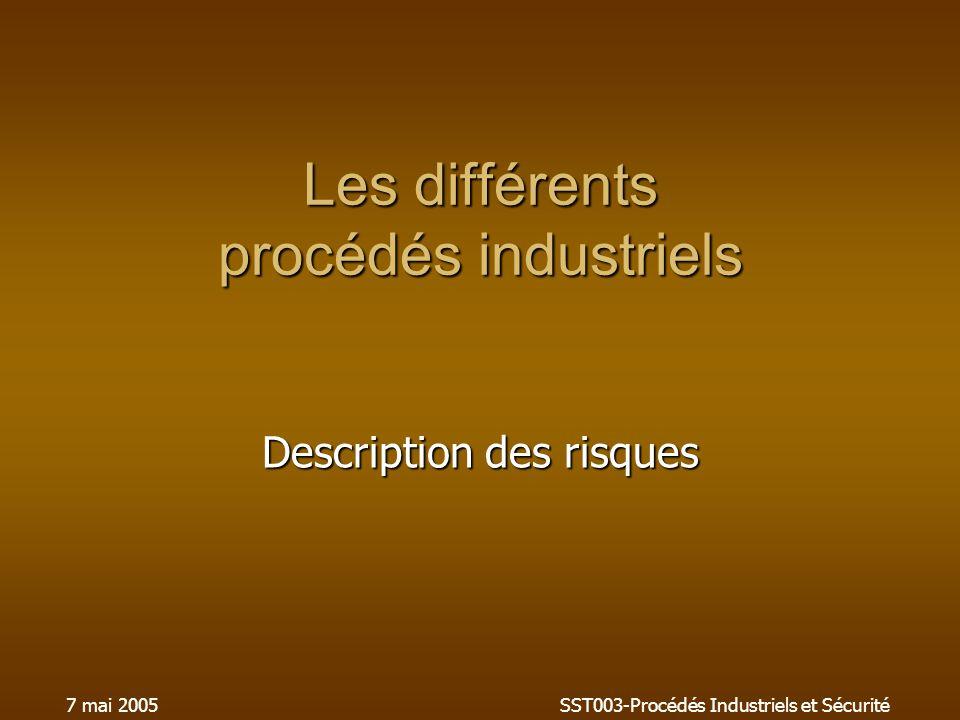 7 mai 2005SST003-Procédés Industriels et Sécurité Les différents procédés industriels Description des risques