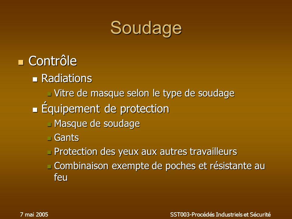 7 mai 2005SST003-Procédés Industriels et Sécurité Soudage Contrôle Contrôle Radiations Radiations Vitre de masque selon le type de soudage Vitre de ma