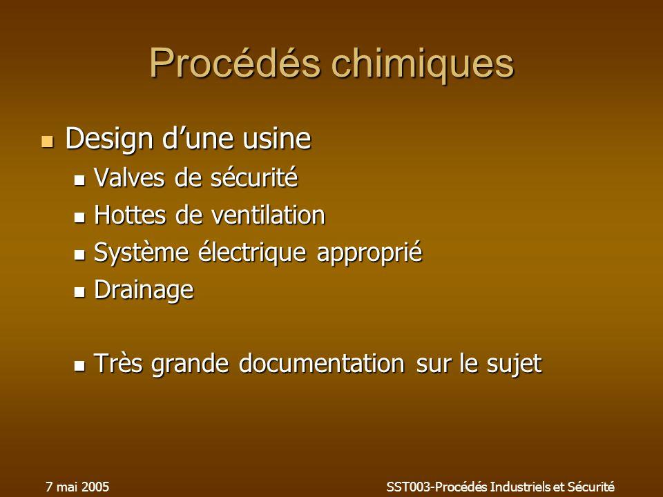 7 mai 2005SST003-Procédés Industriels et Sécurité Procédés chimiques Design dune usine Design dune usine Valves de sécurité Valves de sécurité Hottes