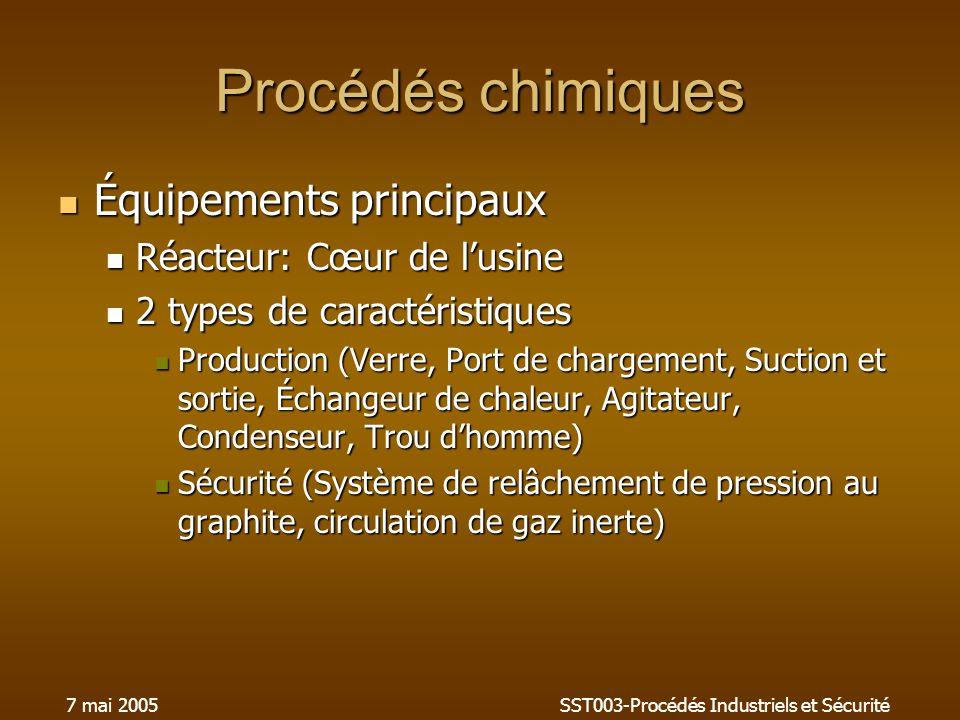 7 mai 2005SST003-Procédés Industriels et Sécurité Procédés chimiques Équipements principaux Équipements principaux Réacteur: Cœur de lusine Réacteur: