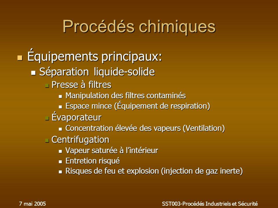 7 mai 2005SST003-Procédés Industriels et Sécurité Procédés chimiques Équipements principaux: Équipements principaux: Séparation liquide-solide Séparat