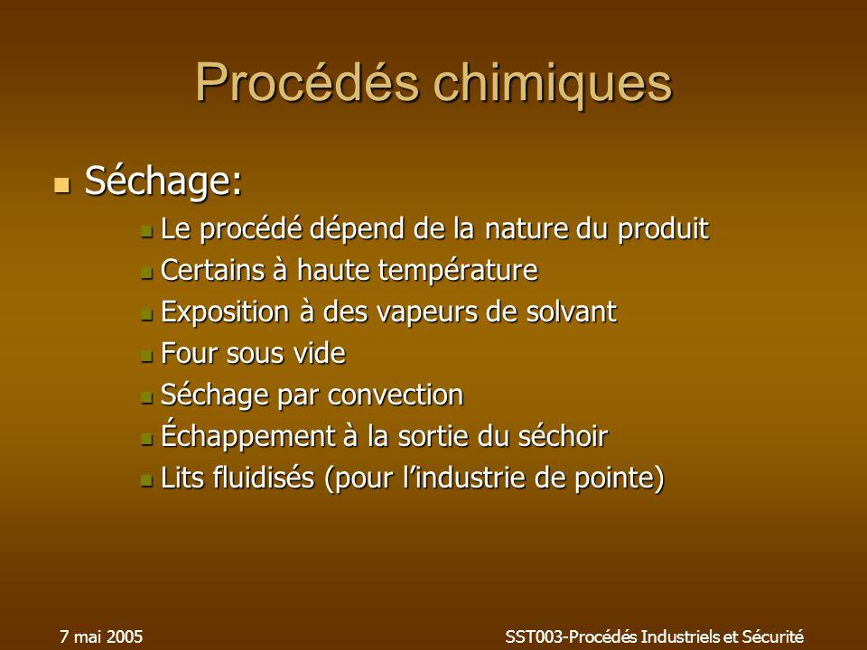 7 mai 2005SST003-Procédés Industriels et Sécurité Procédés chimiques Séchage: Séchage: Le procédé dépend de la nature du produit Le procédé dépend de
