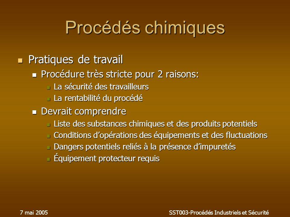 7 mai 2005SST003-Procédés Industriels et Sécurité Procédés chimiques Pratiques de travail Pratiques de travail Procédure très stricte pour 2 raisons: