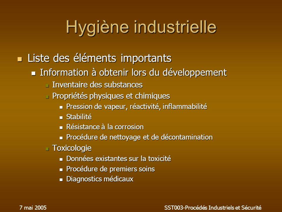 7 mai 2005SST003-Procédés Industriels et Sécurité Hygiène industrielle Liste des éléments importants Liste des éléments importants Information à obten