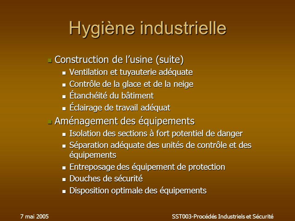 7 mai 2005SST003-Procédés Industriels et Sécurité Hygiène industrielle Construction de lusine (suite) Construction de lusine (suite) Ventilation et tu