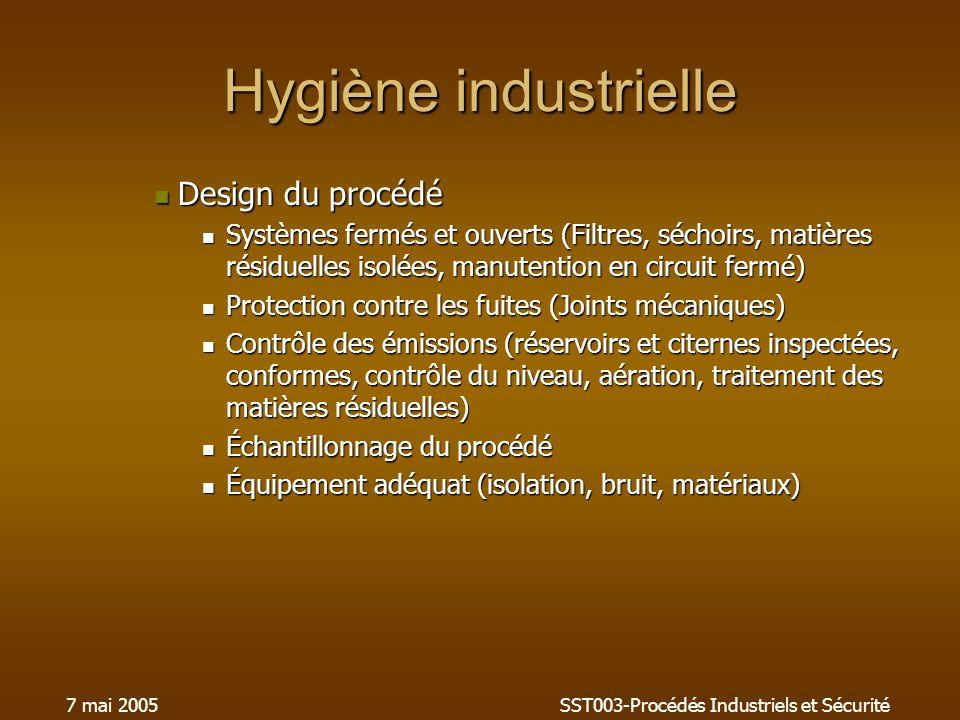 7 mai 2005SST003-Procédés Industriels et Sécurité Hygiène industrielle Design du procédé Design du procédé Systèmes fermés et ouverts (Filtres, séchoi