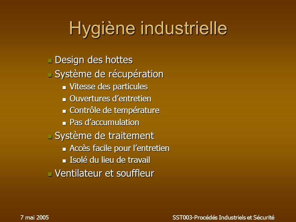 7 mai 2005SST003-Procédés Industriels et Sécurité Hygiène industrielle Design des hottes Design des hottes Système de récupération Système de récupéra