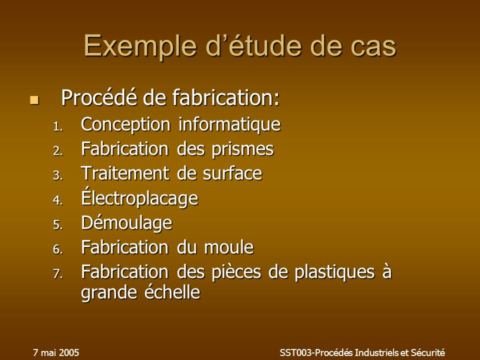 7 mai 2005SST003-Procédés Industriels et Sécurité Exemple détude de cas Procédé de fabrication: Procédé de fabrication: 1. Conception informatique 2.