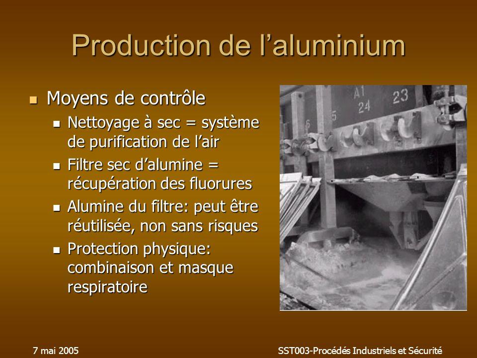 7 mai 2005SST003-Procédés Industriels et Sécurité Production de laluminium Moyens de contrôle Moyens de contrôle Nettoyage à sec = système de purification de lair Nettoyage à sec = système de purification de lair Filtre sec dalumine = récupération des fluorures Filtre sec dalumine = récupération des fluorures Alumine du filtre: peut être réutilisée, non sans risques Alumine du filtre: peut être réutilisée, non sans risques Protection physique: combinaison et masque respiratoire Protection physique: combinaison et masque respiratoire
