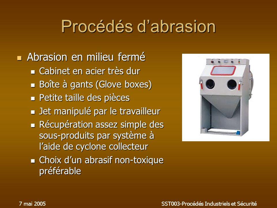 7 mai 2005SST003-Procédés Industriels et Sécurité Procédés dabrasion Abrasion en milieu fermé Abrasion en milieu fermé Cabinet en acier très dur Cabin