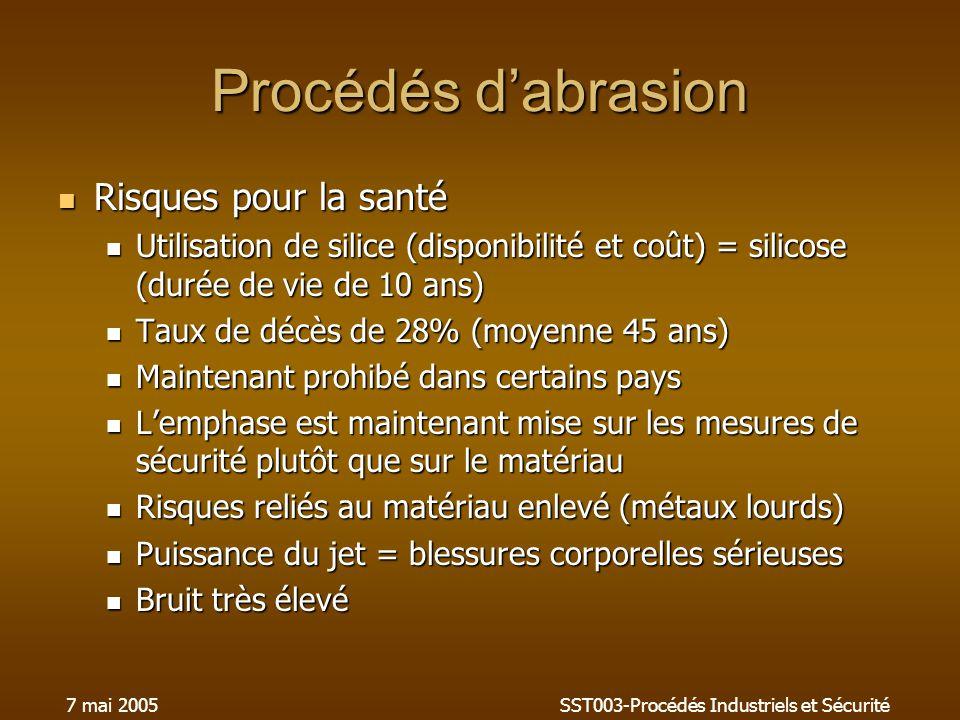 7 mai 2005SST003-Procédés Industriels et Sécurité Procédés dabrasion Risques pour la santé Risques pour la santé Utilisation de silice (disponibilité